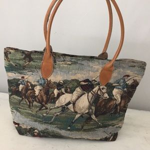Polo horse tapestry bag with leather handles